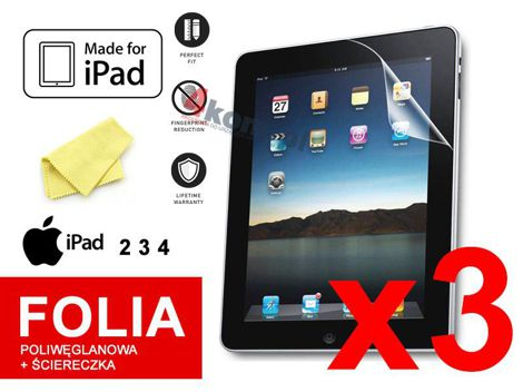 3x Folia ochronna na ekran do iPad 2, 3, 4