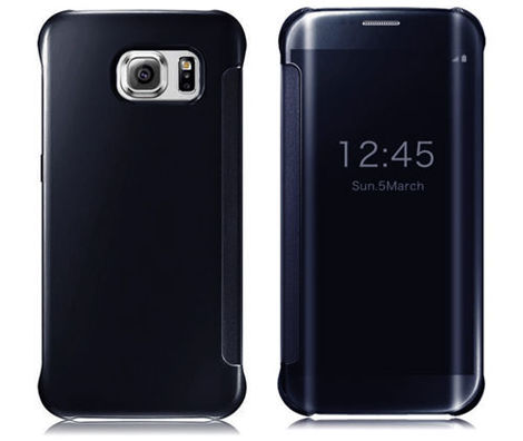 Etui CLEAR VIEW COVER SAMSUNG GALAXY S6 Edge granatowe