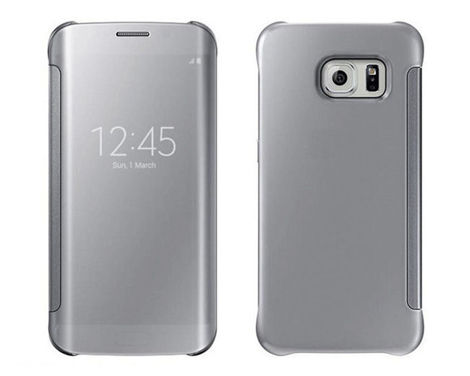 Etui Clear View cover Samsung Galaxy S6 Edge PLUS Srebrne