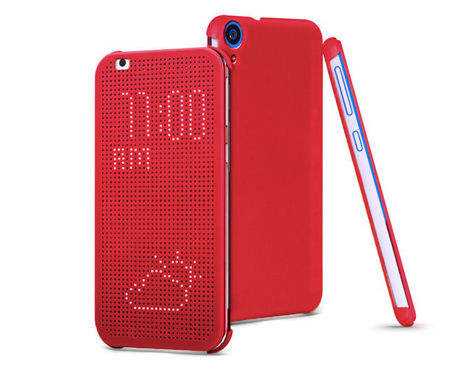 Etui Flip Cover Dot View HTC Desire 820 CZERWONE