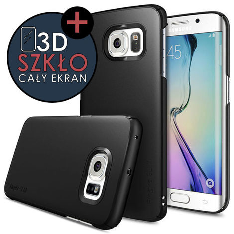 Etui Rearth Ringke Slim Samsung Galaxy S6 Edge SF Black + Szkło 3D
