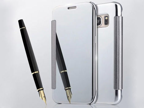 Etui clear view cover samsung galaxy s7 srebrne + szkło