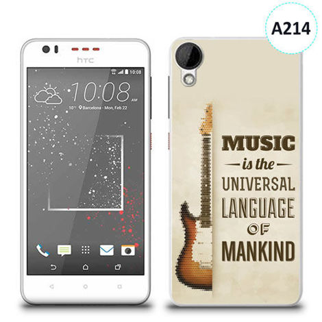 Etui silikonowe z nadrukiem HTC DESIRE 825 - music is the universal language of mankind