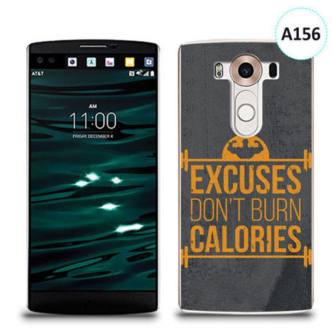 Etui silikonowe z nadrukiem LG V10 - excuses don't burn calories