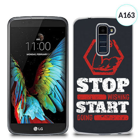 Etui silikonowe z nadrukiem Lg K10 - stop wishing start doing