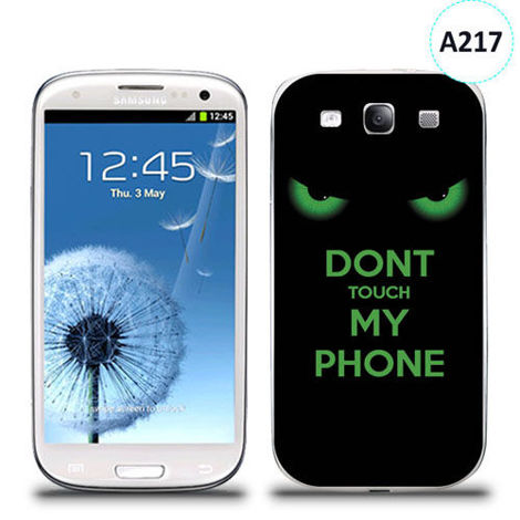Etui silikonowe z nadrukiem Samsung Galaxy S3 - don't touch my phone eyes