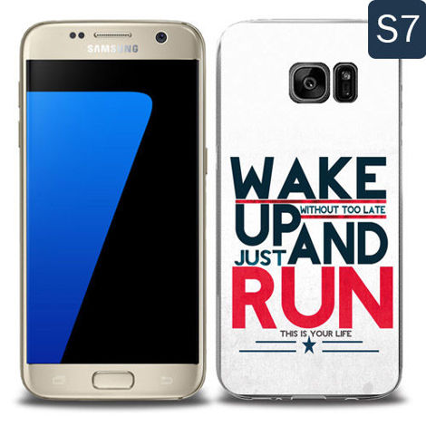 Etui silikonowe z nadrukiem Samsung Galaxy S7- wake up without too late just and run
