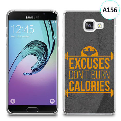 Etui silikonowe z nadrukiem Samsunga Galaxy A3 2016 - excuses don't burn calories