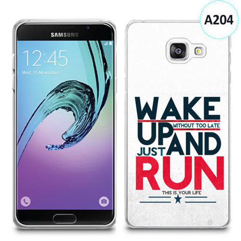 Etui silikonowe z nadrukiem Samsunga Galaxy A3 2016 - wake up without too late just and run
