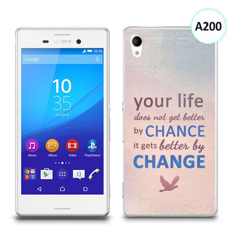 Etui silikonowe z nadrukiem Sony Xperia M4 Aqua - your life doesn't get better by chance