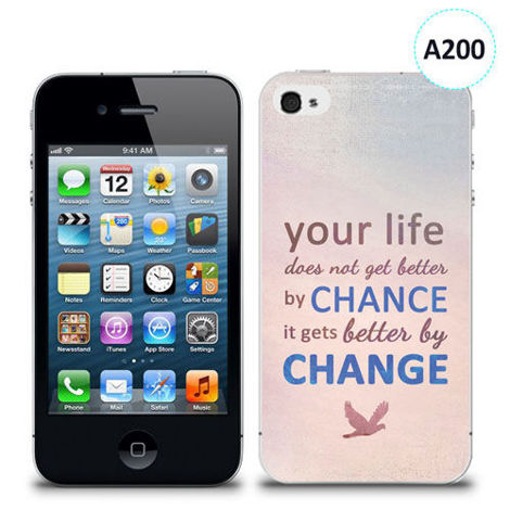Etui silikonowe z nadrukiem iPhone 4/4S - your life doesn't get better by chance