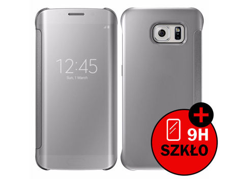 etui clear view cover samsung galaxy s7 edge srebrne + szkło