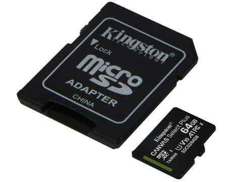 Kingston karta microSDXC 64GB klasa 10 + adapter