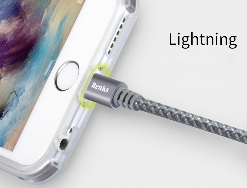 kabel iPhone Benks MFI Lightning-USB 1m sturdy