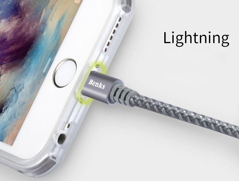 kabel iPhone Benks MFI Lightning-USB 1m sturdy