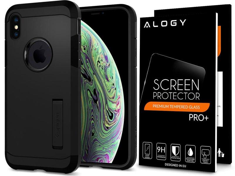 Etui Spigen Tough Armor Apple iPhone Xs Max w zestawie ze szkłem Alogy