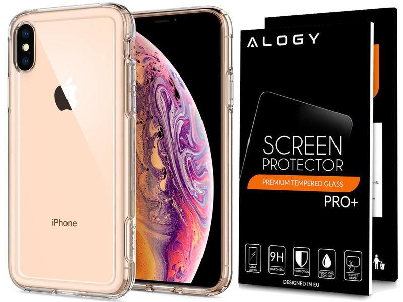 etui spigen crystal hybrid apple iphone xs max w zestawie ze szkłem Alogy