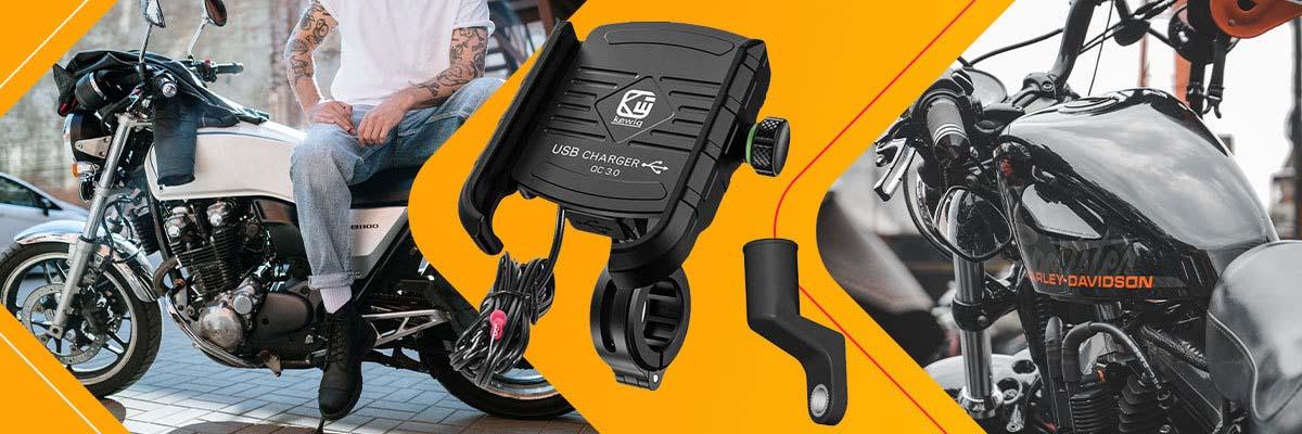 Uchwyt motocyklowy na telefon Kewig KWG-M8 z ładowarką QC 3.0