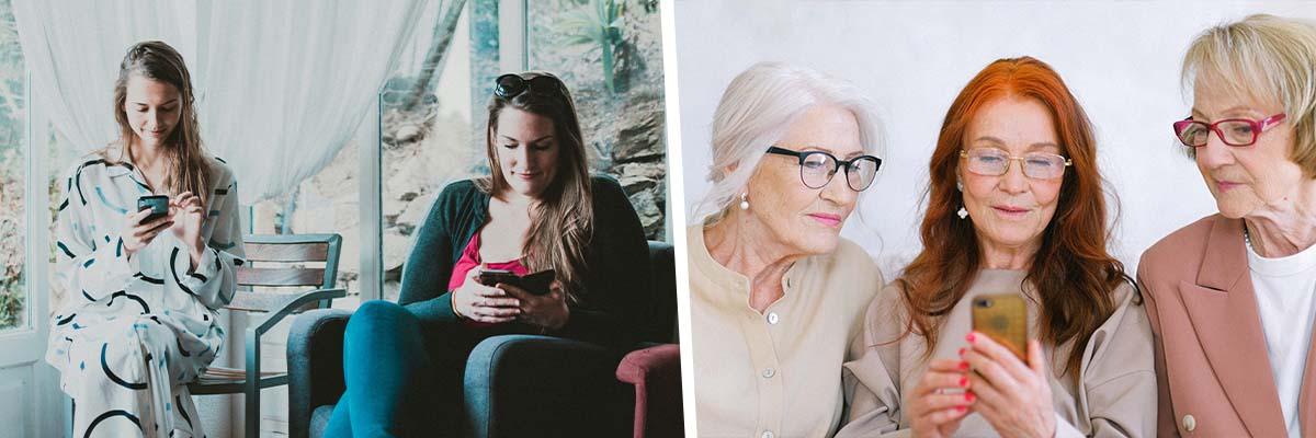 uzależnienie od telefonu uzależnienie od technologii starsze panie przy telefonach