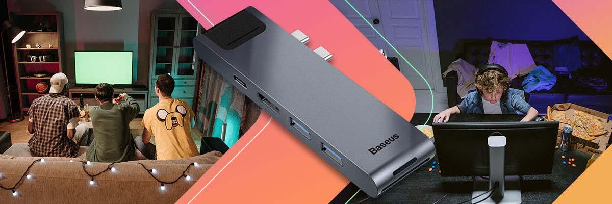 Baseus HUB Thunderbolt C+Pro 7w1 USB 3.0 USB-C RJ45 HDMI 4K dark gray