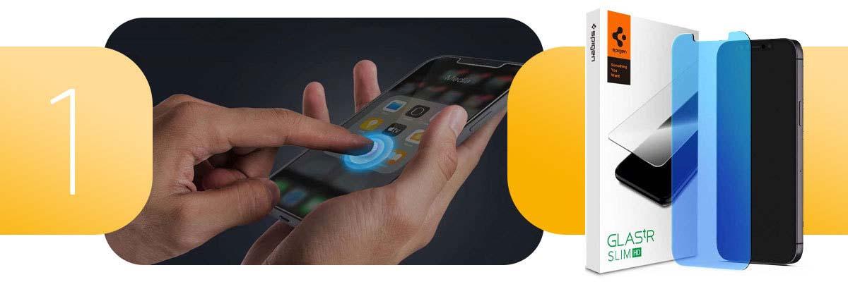 Szkło Spigen AntiBlue Glas.tR Slim HD do Apple iPhone 12 Mini 5.4