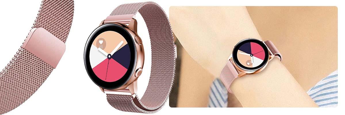 Bransoleta Milanese pasek Alogy do Galaxy Watch Active 2 różowa