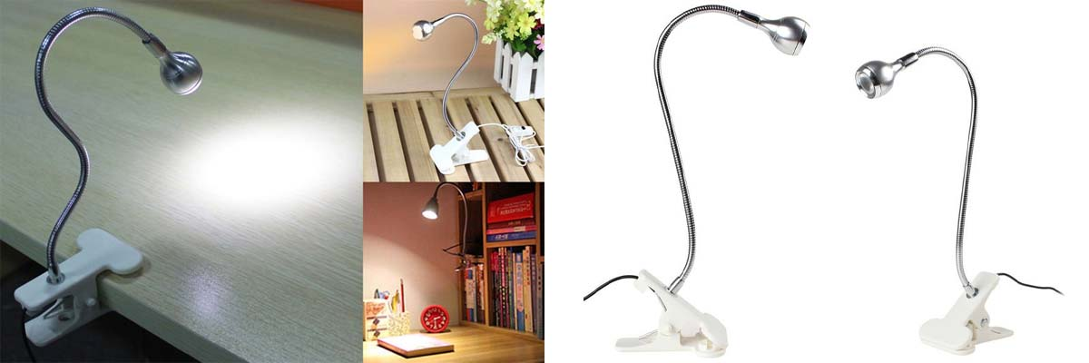 Lampka biurkowa LED USB z klipsem Biała