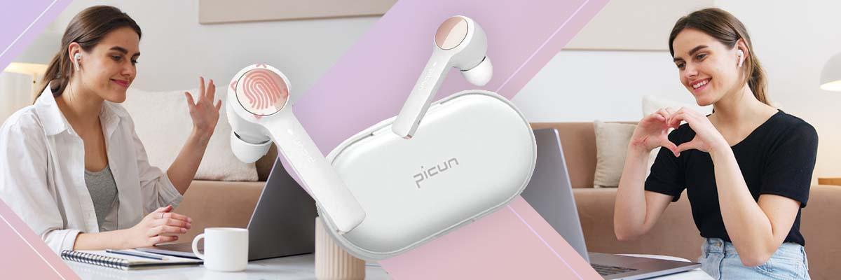 Słuchawki bezprzewodowe Picun W16 Bluetooth ze stacją dokującą Białe