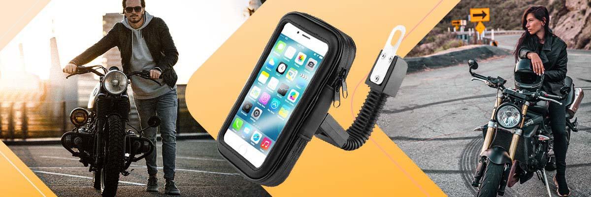 Uchwyt wodoodporny na motocykl rower skuter telefon XL czarny