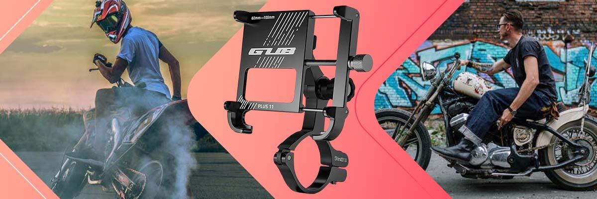 Uchwyt rowerowy motocyklowy GUB Plus 11 na telefon GPS aluminiowy Czarny