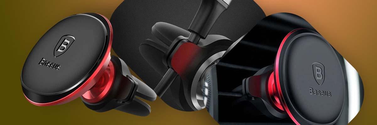 Magnetyczny Uchwyt samochodowy Baseus Magnetic Air Vent do kratki Czerwony