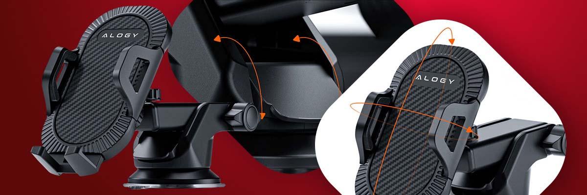 Uchwyt samochodowy 3w1 Alogy na szybę do kratki na deskę rozdzielczą Czarny