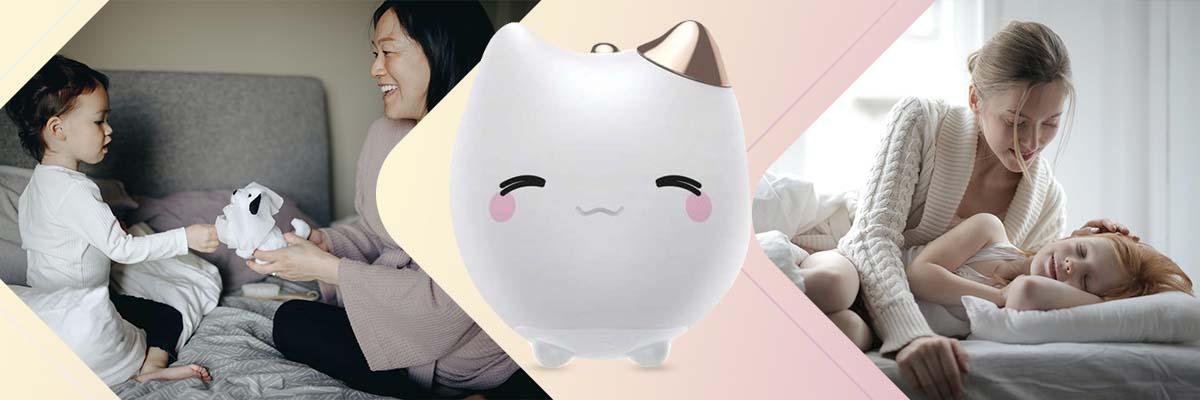 Baseus Nocna lampka dla dziecka silikonowa LED w kształcie kota Biała