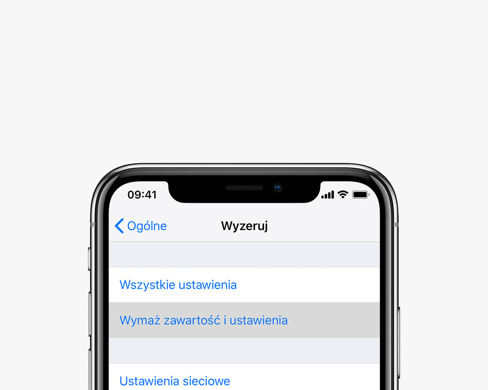 Przywracanie iPhone do ustawień fabrycznych