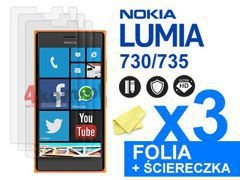 3x Folia ochronna na ekran do Nokia Lumia 730/735