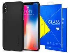 Etui Spigen SGP Thin Fit Apple iPhone X/XS Matte Black +Szkło