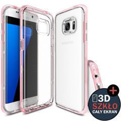 Etui ringke fusion frame samsung galaxy s7 edge frost pink + szkło 3d