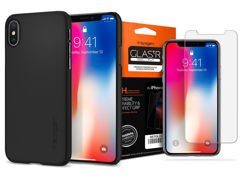 Spigen Etui Thin Fit iPhone X/XS Matte Black +Szkło Glas.tR
