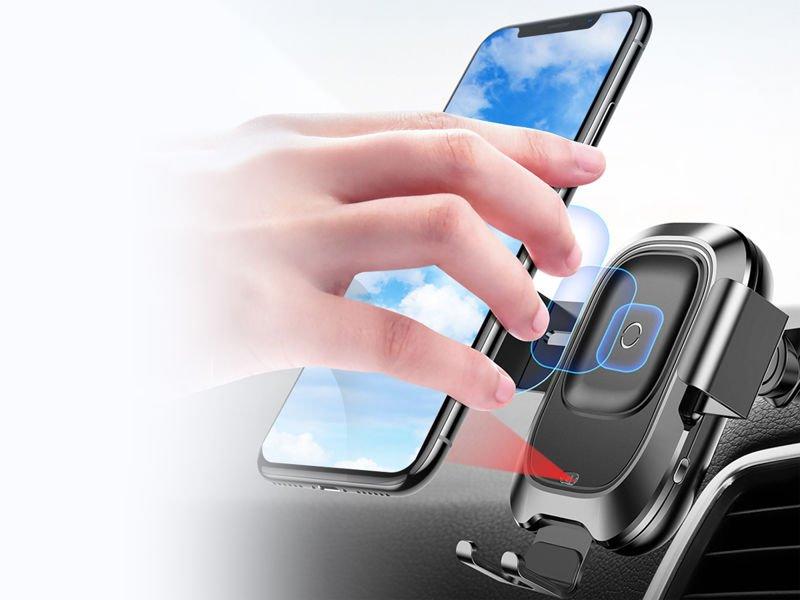 Baseus Smart uchwyt samochodowy indukcyjny ładowarka Qi na szybę black
