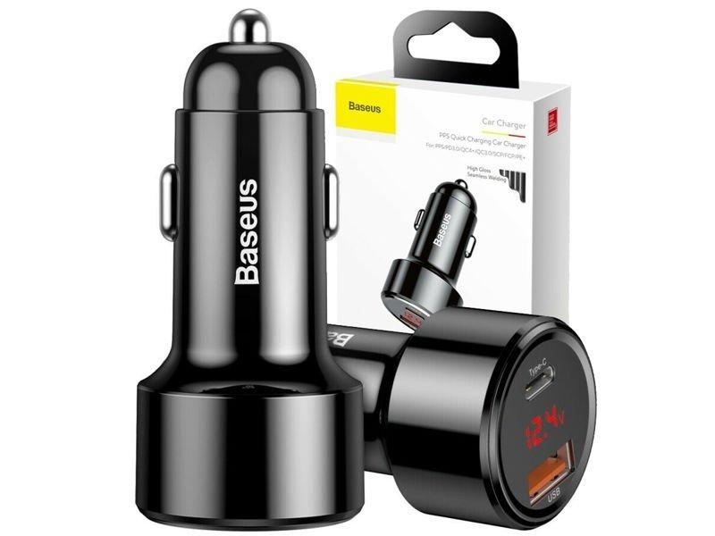 Baseus ładowarka samochodowa USB PPS QC Quick Charge Type C 45W 6A Black