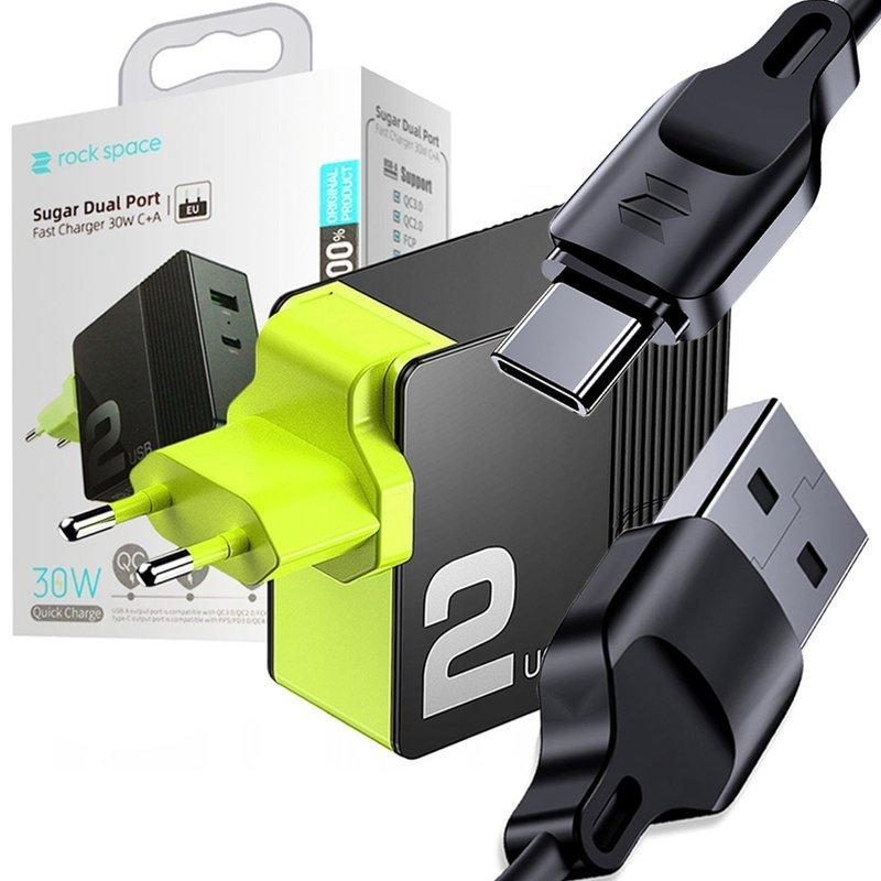 Ładowarka sieciowa Rock Space QC 4.0 USB C PD 30W 5A black + Kabel Z15 USB C