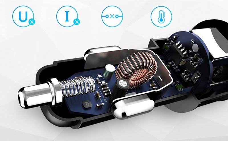 Rock Sitor ładowarka samochodowa 2x USB + Kabel Rock USB C 1m