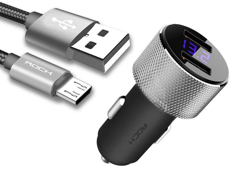 Rock Sitor ładowarka samochodowa 2x USB + Kabel Tarnish micro