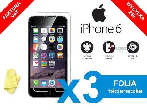 3x Folia ochronna na ekran do iPhone 6