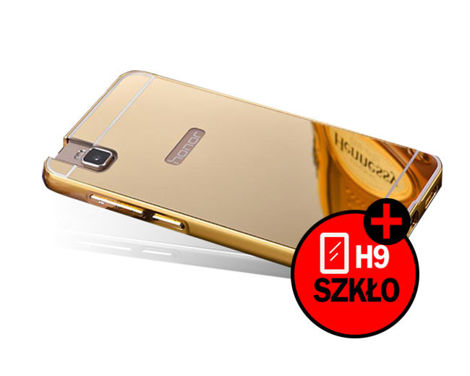 ETUI BUMPER PLECKI MIRROR DO HUAWEI HONOR 7I / SHOT X Złote + Szkło 9h