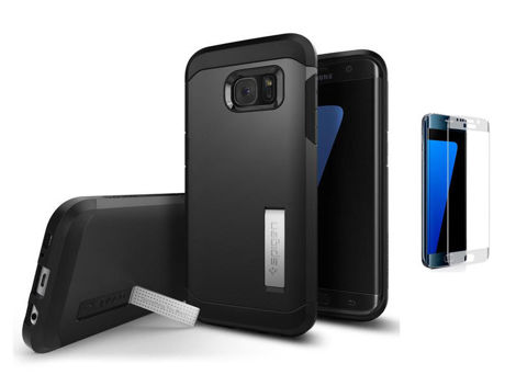 ETUI SPIGEN TOUGH ARMOR SAMSUNG GALAXY S7 EDGE BLACK + SZKŁO 3D