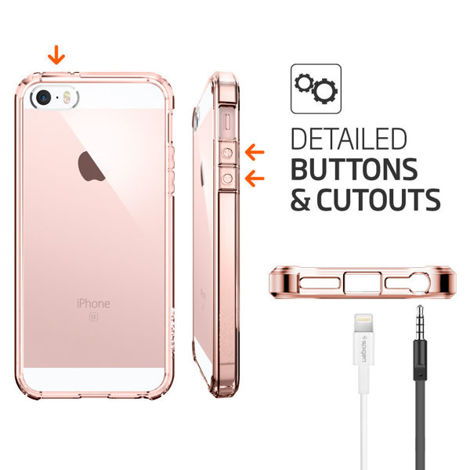 ETUI SPIGEN ULTRA HYBRID DO IPHONE 5 5S SE ROSE CRYSTAL + SZKŁO