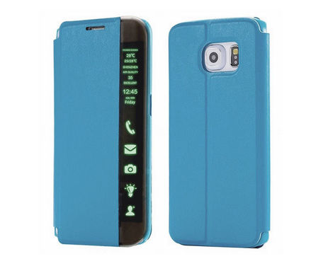 Etui Side View cover Samsung Galaxy S6 Niebieskie