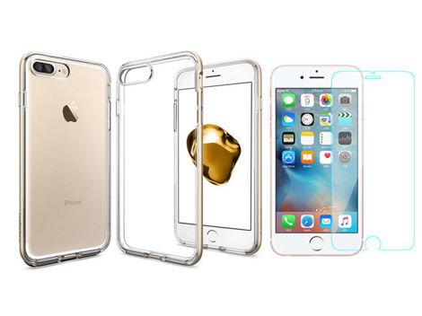 Etui Spigen Neo Hybrid iPhone 7/8 Plus Crystal Champagne Gold + Szkło