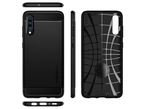 Etui Spigen Rugged Armor do Samsung Galaxy A70 Matte Black + szkło sgp